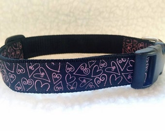 Hearts Handmade Dog Collar  1 Inch Wide