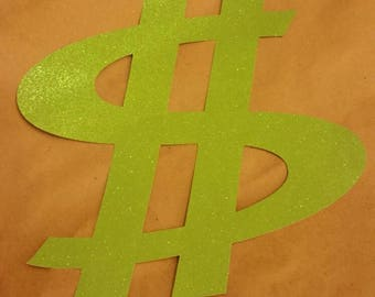 12x12 Green Glitter Dollar Sign Party Decorations.