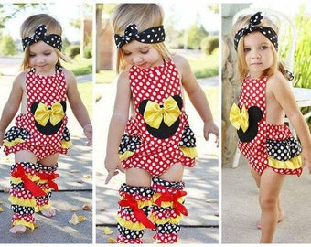 Ready To Ship Girls Mickey Mouse Romper // Baby Girls Birthday Outfit // Polka Dot Romper