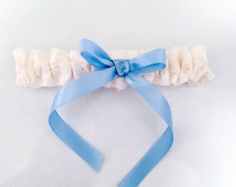Ivory and Blue Lace Garter