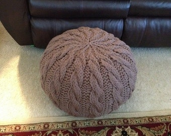 Cable Knit Pouf PDF Pattern