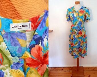 Colorful midi summer dress // Paris vintage dress // 80s womens flower dress