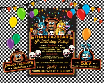 Five Nights at Freddy's Invitation, Five Nights at Freddy's Birthday, FNAT Invitation, FNAT Birthday