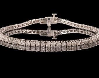 14k White Gold 3.30 ct Natural Diamond Classic Tennis Bracelet, Diamond Bracelet, Gift