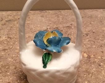 Vintage pottery basket-flower-blue-yellow-collectible-figurine-knick knack-antique-miniature
