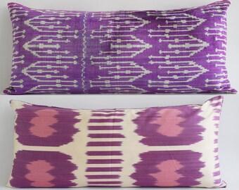 SALE! Handwoven Silk Ikat Bolster Pillow Velvet Pillow Purple Ivory Pink Pillow Cover Purple Velvet Pillow Purple Ikat Pillow Ikat Pillow