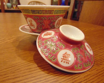 Vintage Hand Painted Rice Bowl Set (free shipping)