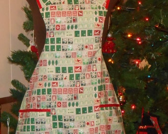 Apron--Adult Christmas Stamps