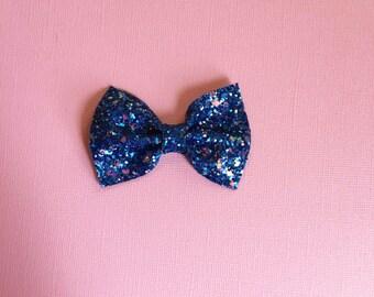 Azurite Blue Glitter Bow Headband or Clip