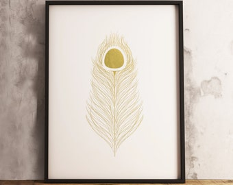 Golden Feather (16x20, 8x10 & 5x7) Instant Download