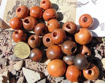 25 Natural Terracotta Australian Aboriginal handmade beads