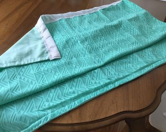Summer light turquoise baby blanket with 2 inch white blanket ribbon