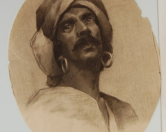 19th century oval drawing of an Arab with turban, charcoal drawing 20 X 16