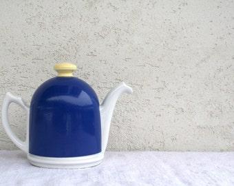Vintage Insulated Teapot, Blue and White. Home Decor. Kitchenalia.