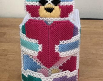 Whimsical Bear Tissue Box Cover -- Multi-colored Red Blue Green Pink Purple Yellow -- Plastic Canvas