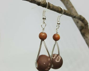 Dangle earrings, earth tones, boho jewelry, silver, gifts for her, birthday, casual, custom, fun, bohemian jewelry,