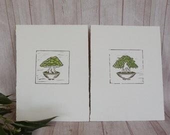 Pair of bonsai minature prints / Original print / Artwork / Lino cut print