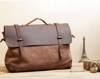 Sale / Satchel - Leather Satchel - Mens Satchel - Canvas Satchel