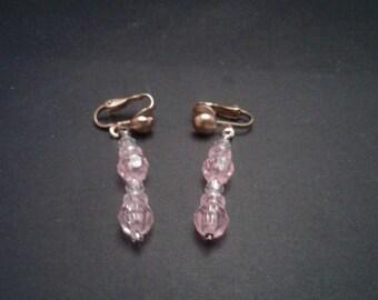 Pink Dangle Clip-on Earrings, Vintage Handmade