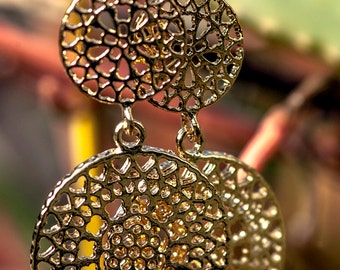 Gold Florentine Disk Earrings, Floral Embossed, High Fashion, Statement, Italian, Renaissance,