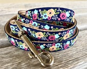 "Matching 5/8"" Leash, Navy Floral Dog Leash, Choose Your Style Leash, Dog Lead, 5/8"" Dog Leash"