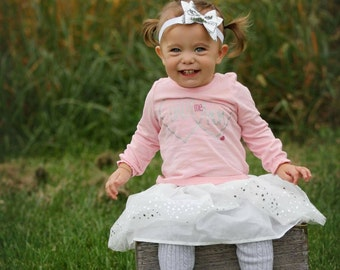 18 months to Toddler white and silver bow headband