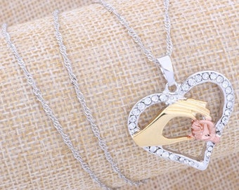 Mother's Day Necklace ,Heart Necklace, Heart pendant ,Mommy And Baby Necklace, silver Necklace, birthday gift, Gift for her, gold plated
