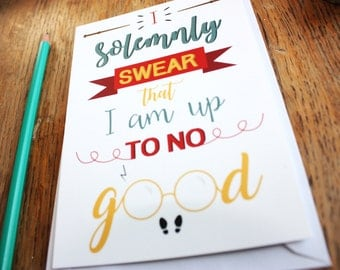 "Card A6, ""I solemnly swear that I am up to no good"", Harry Potter, typography"
