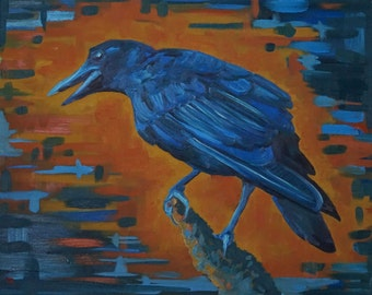 """Crow original oil painting contemporary bird colorful blue animal portrait by Sarah Lynch 16""""x20"""""""