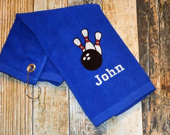 Bowling Towel with Hook - Personalized with Player's Name - Available in Red, Royal Blue, Black or White - Bowling Pins and Ball Embroidered