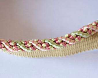 lip cord,upholstery trim,cording,pink and green,cord with lip