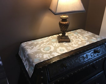 Premier Print Suzani Taupe Light Blue and White Table Runner