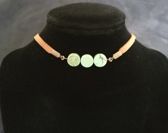 Leather Turquoise Choker