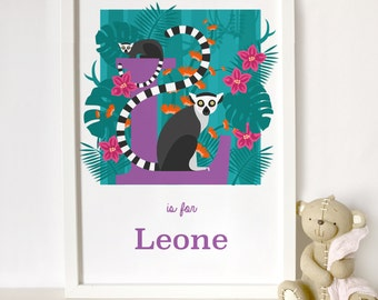 personalised lemur print, animal alphabet print, letter L name print, nursery print, gift for baby, gift for animal lover, mum and baby