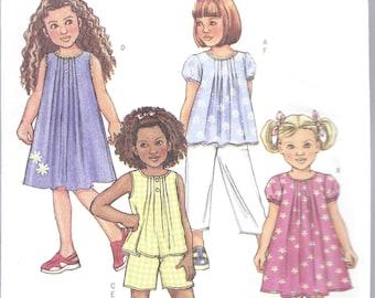 Butterick B4176, Girls, Dress, Top, Shorts, Pants, Sewing Pattern, Front Tucks, Girl Dress, Girl Shorts, Girls Top, Size 2-3-4-5, New