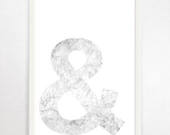 Ampersand, Typography, Minimalist Print, Large Art Print, Typography Wall Art, Monochrome Art, Black and White Print, Scandinavian Art