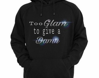 To glam to give a damn white and holographic hoodie.