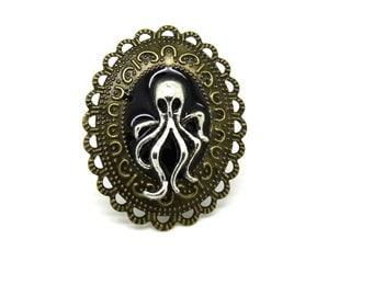 steampunk octopus ring lace metal