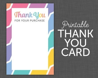 Thank You note - printable, blank thank you, note card 4x6