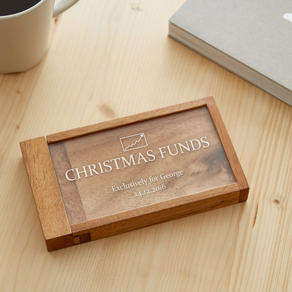 Magic Money Gift Box - Christmas Funds - Personalised With Name and Date of Your Choice - Wooden Puzzle - With Trick Opening - Brainteaser
