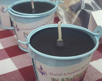 SALE Handmade Bluebell & Heather blue  bucket candle.