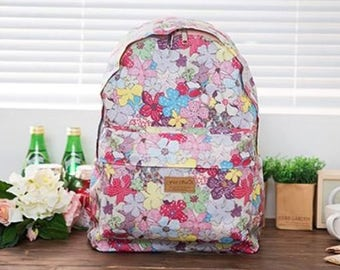 Floral Round Backpack 1 - Navy Rose, Hawaiian (Blue, Pink) - girls pretty student bag for school