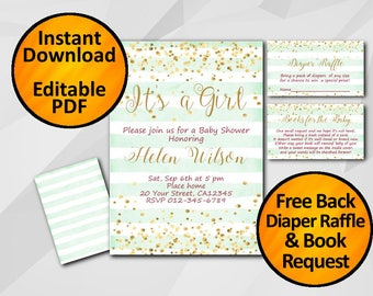 Instant Download SALE 60% Baby Shower invitation Its a Girl gold confetti turquoise stripe editable/ diaper raffle free book request X325ts3