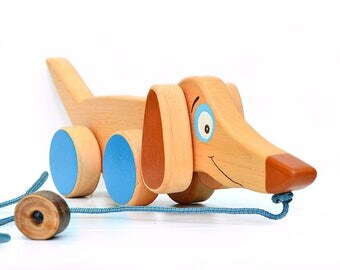 Sausage dog, Wooden toy on wheels, Wood toy Dachshund puppy, Pull waldorf toy, Wood animal, Dog figurine, Baby birthday gift, Toy for boy