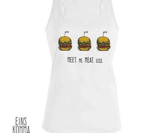 "Organic cotton tank top ""Meet.Me.Meat.Less"""
