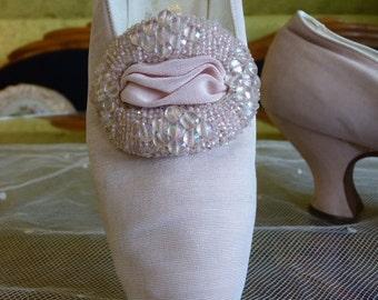 Pink Evening Shoes, antique Shoes, Titanic Era Shoes, Edwardian Shoes,  ca. 1912