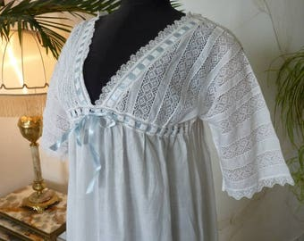 1900 Peignoir, crochet lace, blue ribbon, antique lingerie, antique peignoir