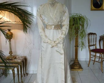 1908 Wedding Gown, Edwardian dress, Bridal dress, antique gown