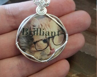 Brilliant! // kitty in glasses // animal jewelry // modern// youth // gifts under 25 // handmade
