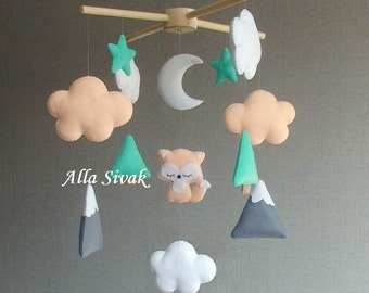Baby mobile, Woodland Baby Mobile, Fox Mobile, Baby Mobile Fox, Baby Boy Mobile, Forest Themed Nursery, Mountain & Fox, Baby Shower Gift